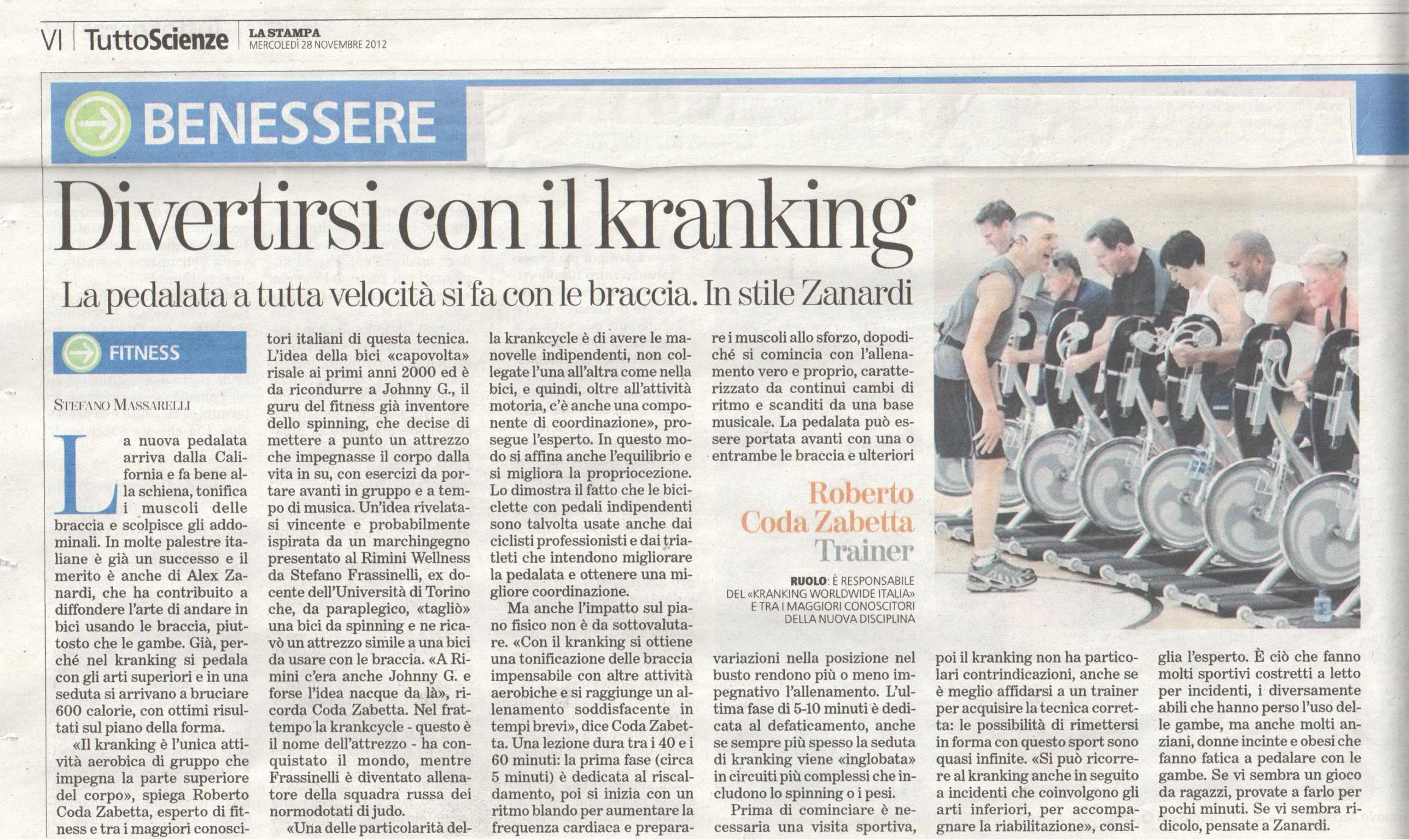 krancycle by matrix, articolo de La Stampa