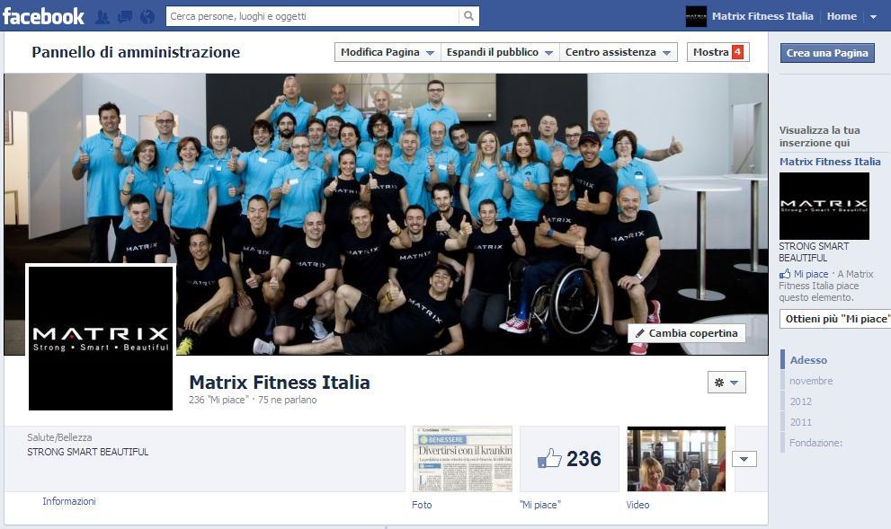 copertina facebook di matrix fitness italia